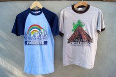 7efac5ddf5ec Lot of 2 Vintage T-Shirts National Parks - Sequioa Kings Canyon - Yosemite  - Raglan Ringer Rayon Tri- Blend Sherry Textile Prints Tag