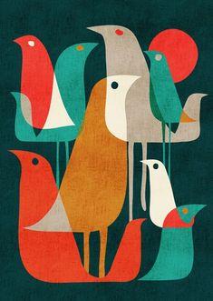 - Birds - midcentury modern / retro Flock of Birds Art Print by Picomodi Vogel Illustration, Art And Illustration, Illustrations, Retro Kunst, Retro Art, Retro Color, Mid Century Modern Art, Mid Century Art, Mid Century Design