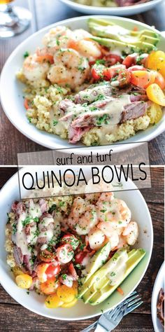 Surf and Turf Quinoa Bowls with Roasted Garlic Vinaigrette are a quick and easy weeknight dinner solution! | www.cookingandbeer.com