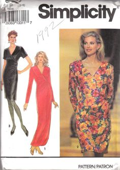 Faux Wrap Dress Pattern Simplicity 8123 Size by OneMoreCupOfTea, $3.00