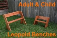 Free Leopold Bench Plans (downloadable PDF) - EASY and CHEAP outdoor seating. Bench design based on the work of Aldo Leopold, a nature writer and protector of the wilderness. Stain or paint in bright colors, you decide!