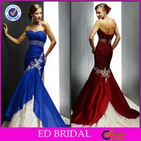 Custom Made Sweetheart Mermaid Royal Blue And White Wedding Dresses With Beaded Sash