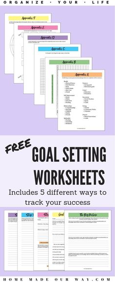 Organize your life with these goal-setting worksheets. This free PDF also includes 5 different trackers to track your success. | SMART goals | free printable | #goals #goalsetting #printable