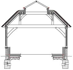 Here are multiple diagrams and descriptions of the main oak frame types used in our buildings such as main span, monopitch, flat roof and pitched roof.