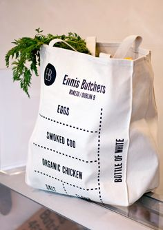 Graphic Design & Packaging / Ennis Butchers Bag / #graphic #design #package #packaging #bag #ennis #butchers #shop #tote #typography #text #black #white...