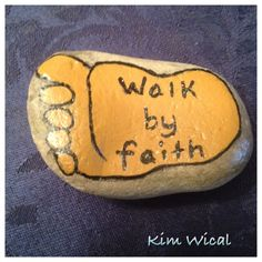 Walk by faith Rock Painting Patterns, Rock Painting Ideas Easy, Rock Painting Designs, Pebble Painting, Pebble Art, Stone Painting, Painting Art, Vbs Crafts, Rock Crafts