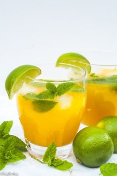 Mango Mojito: Mango Purée (recipe), Lime Juice, Mint Leaves, Light Rum, Tonic Water, Lime Slices.