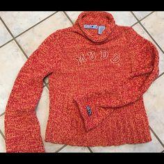 MUDD sweater Beautiful red and orange mock neck sweater. Mudd Sweaters Cowl & Turtlenecks