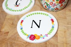 DIY Personalised Ceramic Coasters made with acrylic paint and Posca pens! #Ceramics #Coasters #DIY