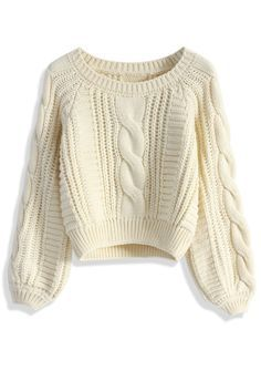 Cable Knit Crop Sweater in Beige - Sweaters - Tops - Retro, Indie and Unique Fashion Chunky Cable Knit Sweater, Beige Sweater, Cropped Sweater, Beige Shirt, White Turtleneck, White Jumper, Cropped Tops, Cream Jumper, Jumper Shirt