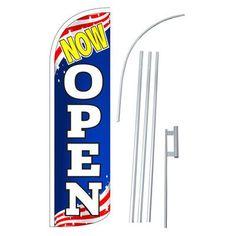 NeoPlex Now Open Patriotic Swooper Flag and Flagpole Set