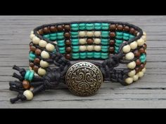 Tutorial :: Five-Row Beaded Cuff Wrap Bracelet.  Excellent details for each step.  #handmade #jewelry