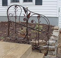 wrought-iron exterior rail, organic forms with structure, bronze patina, brass ball Bronze Patina, Organic Form, Wrought Iron, Exterior, Sculpture, Railings, Ornaments, Barn, Furniture