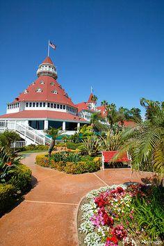 Hotel Del Coronado ~ Coronado Island, California--View of the lovely gardens and grounds.