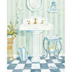 Paul Brent - Pedistal Sink - mini - art prints and posters Pedistal Sink, Image Deco, Gravure Illustration, Decoupage Vintage, Bathroom Pictures, Bath Pictures, Bathroom Wall Art, Bathroom Prints, Cool Posters