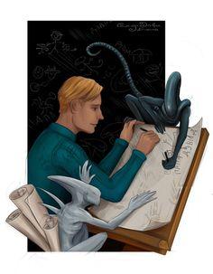 "Xenomorph Alien Sci-Fi Art Print - ""David with children"" - by Lena Samoryadova Alien Vs Predator, Alien Concept Art, Alien Covenant Concept Art, Aliens Movie, Alien Art, Human Art, Sci Fi Art, Mythical Creatures, Horror Movies"