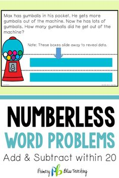 Does teaching first graders to solve addition and subtraction word problems leave you feeling overwhelmed. Numberless Word Problems to the rescue! First Grade Lessons, Teaching First Grade, First Grade Math, Math Lessons, Math Fact Practice, Math Fact Fluency, Math Lesson Plans, Math Words, Love Math
