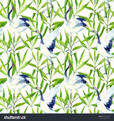 stock-photo-watercolor-asian-crane-bird-seamless-pattern-hand-painted-bamboo-illustration-on-white-background-292052255.jpg (1500×1600)