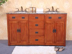 "Legion Furniture 60"" Dark Oak Mission Style Vanity with Top & Sinks - (3 Granite Color Choices) Optional Faucets 5433d60WLF"