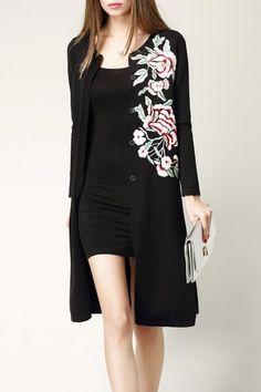 Nexiia Black Floral Embroidered Slit Cardigan | Cardigans at DEZZAL