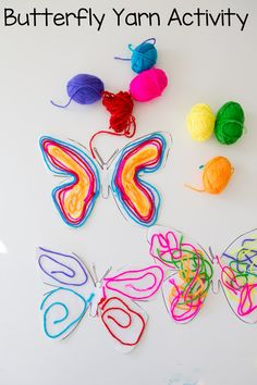 Butterfly Yarn Activity for Younger Children, Arts & Crafts Ideas for Smaller Kids, Butterfly Crafts, Yarn Crafts, Frugal Craft Ideas, Budget Friendly Crafts for Kids
