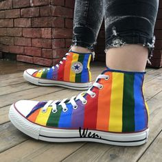 Rainbow Converse All Star Original Design Hand Painted Shoes Men Women Sneaker - Rainbow Converse, Diy Converse, Rainbow Shoes, Converse All Star, Converse Shoes, Converse Design, Custom Converse, Moda Sneakers, Sneakers Mode
