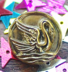 Vintage Button Black Glass Button with Gold Lustre Swan Pictorial Bird Button Black Glass Swan