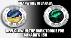 Canada's New Two-Dollar Coins Glow in the Dark. Those coins are much cooler than the US state quarters! Of course 'Murica could never come close to being cool. Canadian Memes, Canadian Things, I Am Canadian, Canadian Humour, Canada Jokes, Canada Funny, Canada 150, Meanwhile In Canada, True North