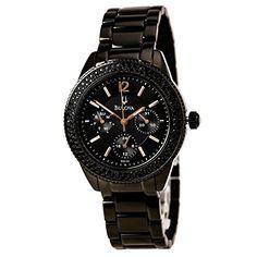 Bulova Ladies Crystal 98N105 Black Bracelet Watch Bulova