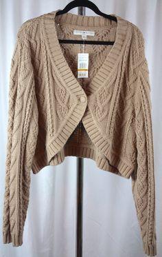 Tommy Hilfiger Womens Plus Size Bolo Shrug Long Sleeve Tan Sweater 3X NWT #TommyHilfiger #Shrug