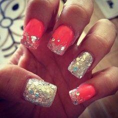 Fluorescent orange glitter nails