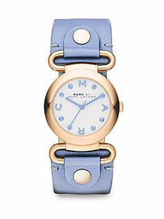 Marc by Marc Jacobs Rose Goldtone-Finished Stainless Steel Blue Leather Strap Watch