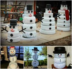 Transform old ty(i)res into these whimsical Snowmen that will look fantastic decorating your home this Christmas! This is a fun DIY that wi...