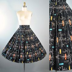 Vintage 50s Full Circle Skirt / 1950s Novelty by GeronimoVintage