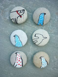 new range of screen printed fabric covered buttons by hens teeth, via Flickr