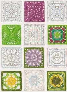 Latest No Cost Granny Squares diagramme Strategies Crochet Granny Squares do the job up quickly, nonetheless weaving out of all stops does take time. Crochet Squares, Crochet Doily Diagram, Crochet Mandala Pattern, Granny Square Crochet Pattern, Crochet Granny, Baby Blanket Crochet, Crochet Doilies, Crochet Flowers, Granny Squares
