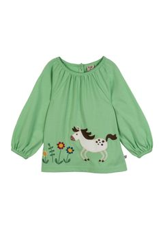 Save 50% - Now Only £9.00  This pretty short sleeve gathered smock top has a cheerful house applique that little girls will love. With poppers at the back of the neck to making changing easy.