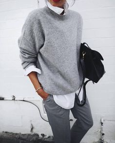 Pull cachemire gris + chemise blanche + pantalon droit : http://www.taaora.fr/blog/post/look-boyish-masculin-feminin-pull-basique-gris-chemise-blanche #outfit #look #boyish