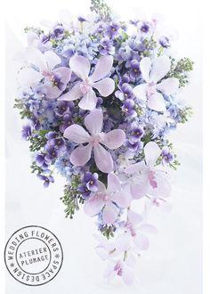 紫の濃淡が印象的なキャスケードブーケ(アーティフィシャルフラワーのブーケ ) 東京・Plumage -プルマージュ ブーケ制作・手作りレッスン
