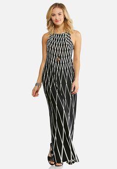 a5d91cd8122 Black And White Geo Maxi Dress Junior Misses Cato Fashions  catoconfident Cato  Fashion Plus