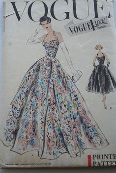Vtg 1950s Vogue EVENING Dress PATTERN SpcDesign HALTER Bombshell Sz 16 Fact FOLD 60.99+fr 2bds 11/9/14 FF