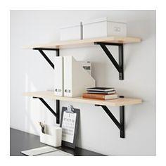 "EKBY JÄRPEN / EKBY VALTER Wall shelf, birch veneer, black - 46 7/8x11 "" - IKEA"