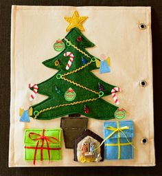 Felt Christmas Tree Quiet Book Page with patterns