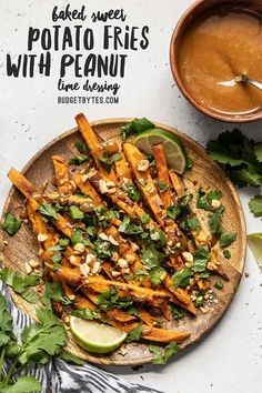 Oven baked sweet potato fries drizzled with homemade peanut lime dressing, piled high with fresh cilantro, chopped peanuts, and a pinch of spicy red pepper. Vegetarian Recipes, Cooking Recipes, Healthy Recipes, Fast Recipes, Simple Recipes, Beef Recipes, Side Dish Recipes, Dinner Recipes, Lime Dressing