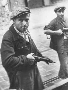 Two Jewish partisans during the uprising before liberation. Marseille, France, August 1944.