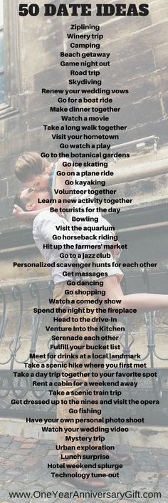 50 Date Ideas!! https://www.oneyearanniversarygift.com/blogs/one-year-anniversary-gift-1/50-date-ideas-for-your-anniversary #dateideas #anniversaryideas