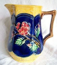 Antique Majolica Glazed Botanical Colorful Glazed Florals Art Pottery Pitcher | eBay