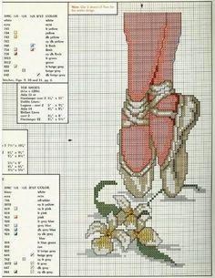point de croix ballerines de danseuse et fleurs - cross stitch ballet shoes and flowers
