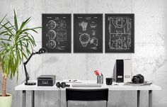 Basketball Patent Prints Set of 3  Basketball by QuantumPrints