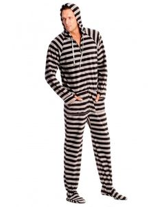Black and Grey Striped Adult Footed onesie Pajamas